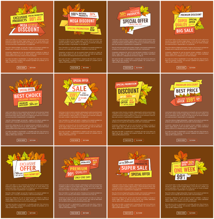 Maple leaves, oak foliage autumn symbols on advert leaflets. Exclusive offer only one day on Thanksgiving day. Mega sale promo posters set with text sample.