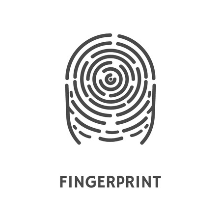 Fingerprint Print of Finger Identification Vector