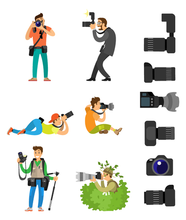Professional photographing gear with flash lights, removable lens isolated on white vector icons. Photographers with digital camera taking photos in bush