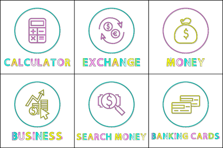 Calculation exchange money, business and banking cards. Set of icons with currency change, bag full of cash and magnifying glass vector illustration Foto de archivo - 127240641