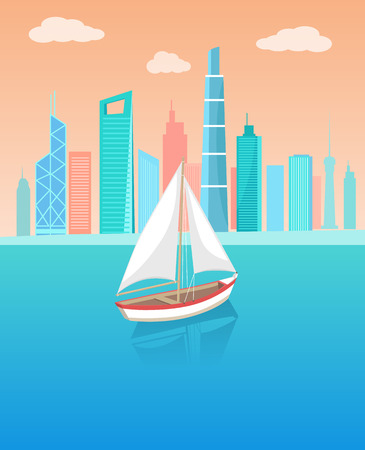 Modern yacht marine nautical personal ship icon. Sail boat with white canvas sailing in deep blue waters and leave trace vector on background of cityscape.