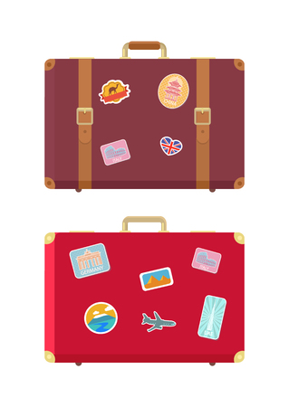 Luggage traveling bags and stickers isolated icons set vector. Berlin construction, aircraft and Egypt camel. Pyramids and places to see for tourists