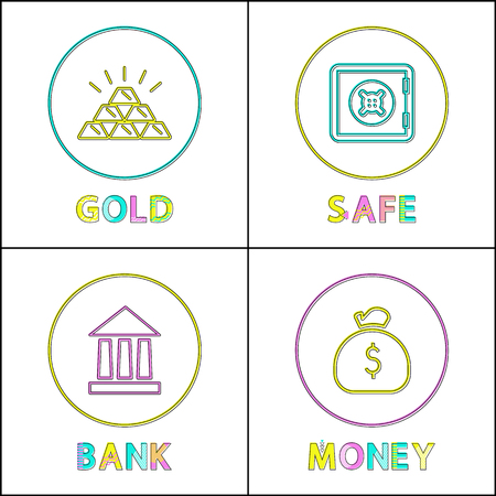 Saving Valuable Asset and Money Thin Line Icon Set Illustration