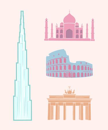 World Famous Sights Travel Pastel Stickers Set Illustration
