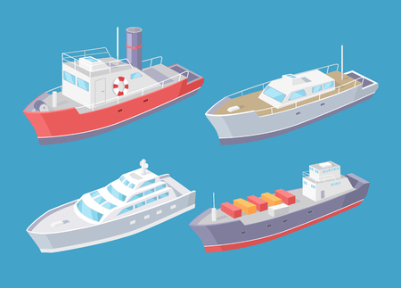 Water transport, transporting cargo in boxes, shipment and delivery of goods by sea set vector. Ferry and yacht for people passengers and voyagers