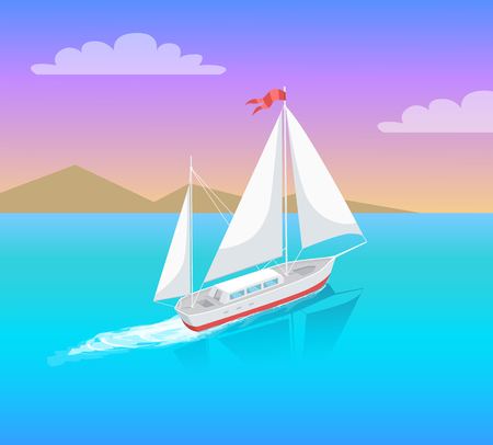 Yacht with white canvas sailing in deep blue waters and leave trace vector on backdrop of mountains. Modern sail boat marine nautical personal boat icon