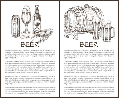 Beer objects set hand drawn vector sketches. Full tumblers with flowing foam and can, bottle and wooden barrel, lobster and chips vintage template Stock Illustratie