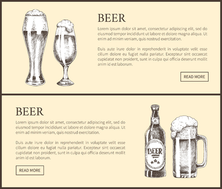 Beer Bottle, Glass and Mug Vintage Landing Page