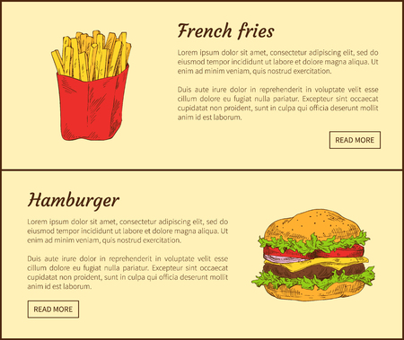 French fries in package and hamburger made of onion, ham and cheese with salad leaves. Fast food set served dishes high in fat vector illustration Illustration