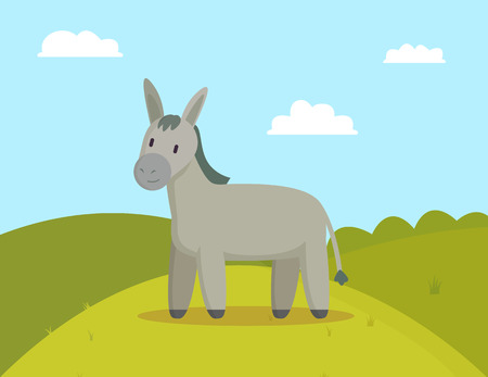 Donkey farm animal graze on meadow colorful banner vector illustration of grey pet with tail and hair, bright sunny day and sky with fluffy clouds set