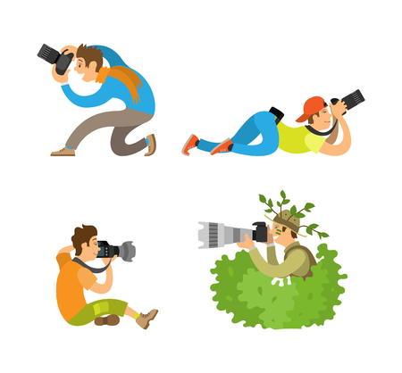 Journalists or reporters spy making reportage vector illustrations. Photographers or paparazzi taking photo with digital cameras from all angles and bush