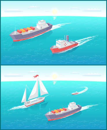 Water transport cargo boat with boxes for shipment on distances and sailing ship vector. Set of vessels for different purposes on sea ocean water Иллюстрация