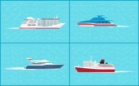 Water Transport Yacht Sea Trip Vessels Set Vector