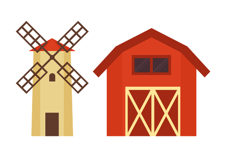 Barn for grain or hay warehousing and water tower with wooden cover for dacha, farm or ranch flat vector illustration isolated on white building set. Foto de archivo - 127240653