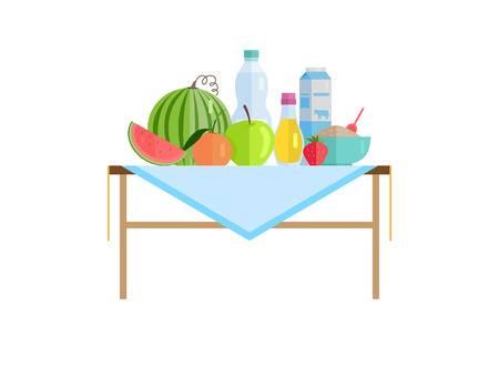 Healthy food and drinks or milk on table. Watermelon near peach with apple, strawberry beside porridge bowl, olive oil vector illustration isolated. Banco de Imagens - 112903225