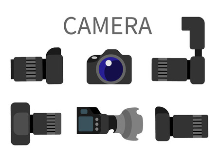 Professional digital photocameras set with lens front and side view isolated on white. Studio photography gear with zoom, analog camera with flash vector