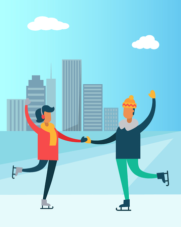 Happy couple dancing on skates, man and woman having fun together vector illustration isolated on background of skyscrapers, winter sport activities