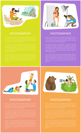 Photographers sitting on rocks and making photo of valley, woman in bikini in photo studio, cameraman makes pictures of family, journalist and bear