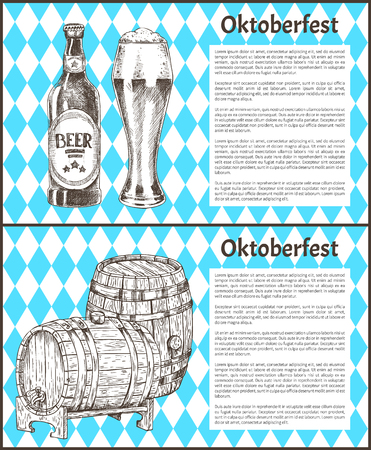 Oktoberfest beer objects set hand drawn icons. Wooden barrels, bottle and full tumbler with flowing foam on blue and white vintage vector template