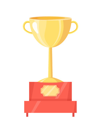 Golden trophy cup on pedestal vector illustration. Shiny award, goblet with handles on red stand with label on rank, rewarding icon, sport theme.