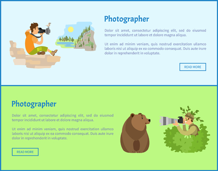 Landscape and Animal Photographers Web Banners Stock Photo