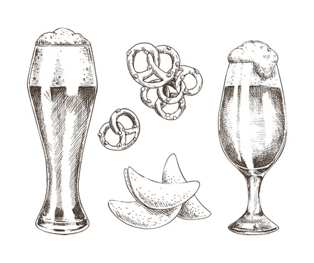 Snack Food and Foamy Beer in Glasses Graphic Art Reklamní fotografie