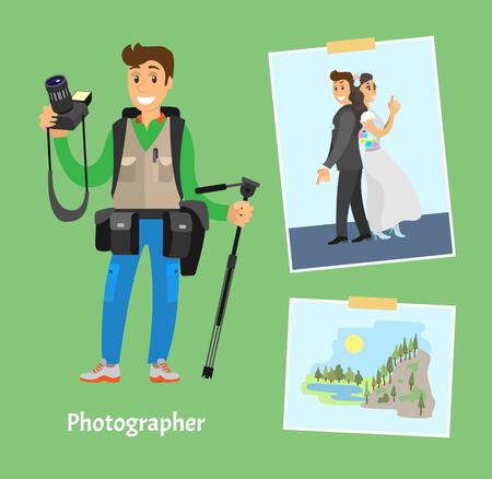 Photographer with Digital Camera, Photo and Tripod Stock Photo
