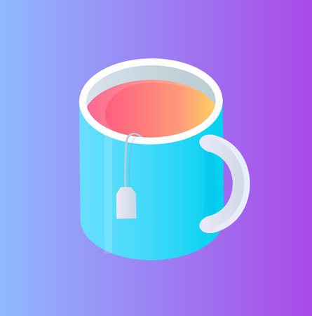 Glass cup with tea pocket isolated vector cartoon icon. Thick bowl with handle, with brown liquid inside and overhanging rope with label, 3d isometric 向量圖像
