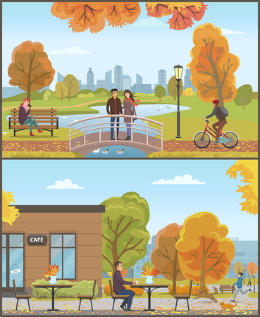 Couple standing on bridge lake, feeding birds set of activities vector. Cityscape and cafe coffee shop with customer male drinking beverage by table Vectores