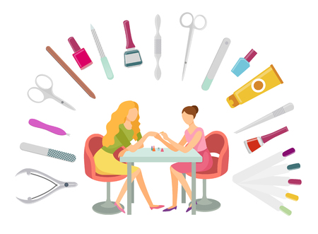 Manicurist and client, manicure procedure and set of tools. File and scissors, lotions and separator toenails, essential oils vector nail polish instruments