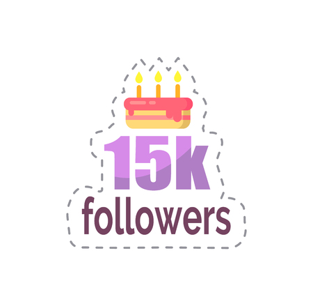 Followers 15k Statistics and Celebration Vector Ilustrace