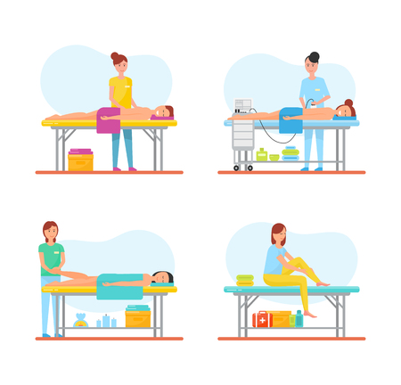 Massage relieving from pain isolated icons set vector. Masseuses with client lying on table with towel. Aroma therapy and relaxation methods self care