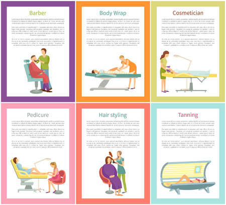 Hair styling and tanning process in solarium sunroom, posters with text sample vector. Cosmetician and face care, barber styling, body wrap pedicure Illusztráció