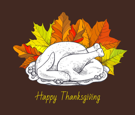 Happy Thanksgiving day, meal on poster with greeting text vector. Turkey meat dish monochrome sketch outline and maple leaves foliage, dry leafy item