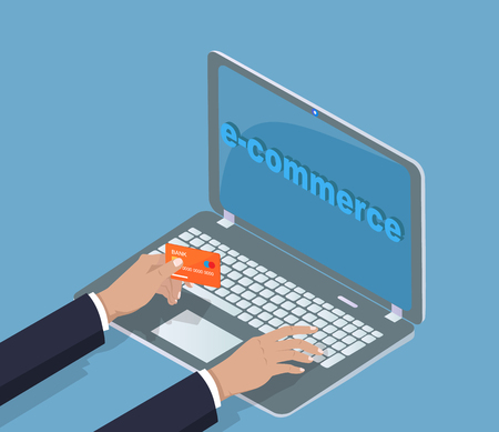 E-commerce Laptop Banking Card Vector Illustration Reklamní fotografie
