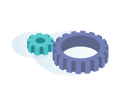 Big and Small Gears Spinning Thanks to Each Other