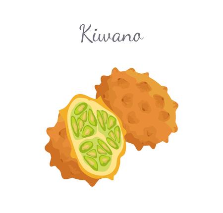 Kiwano Exotic Juicy Fruit Vector Isolated Icon