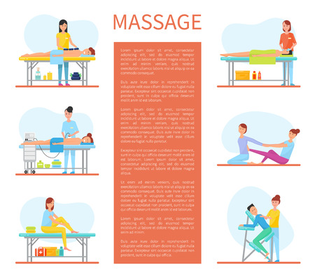 Medical Massage Room Cartoon Sample Banners Text Stock Photo
