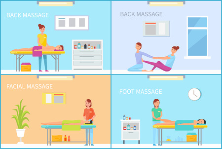 Back and Foot Massage Methods Posters Set Vector Reklamní fotografie