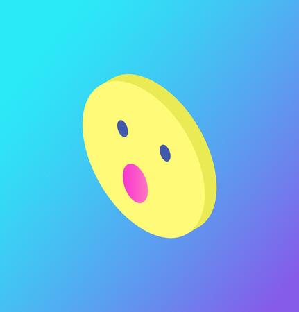 Surprised Face Emoji Social Network Icon Vector