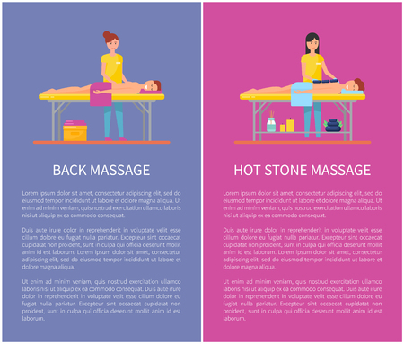 Back and Hot Stone Massage Session Cartoon Banner