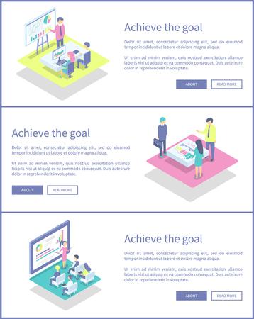 Achieve Goal Posters Set Text Vector Illustration Stock Photo
