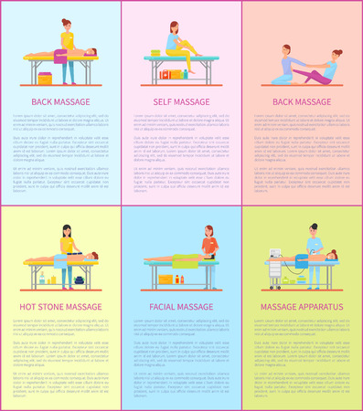 Back Massage Therapy Treatment Posters Set Vector