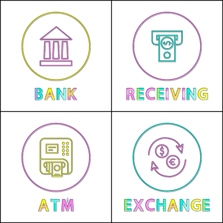Bank Receiving Transaction Vector Illustration