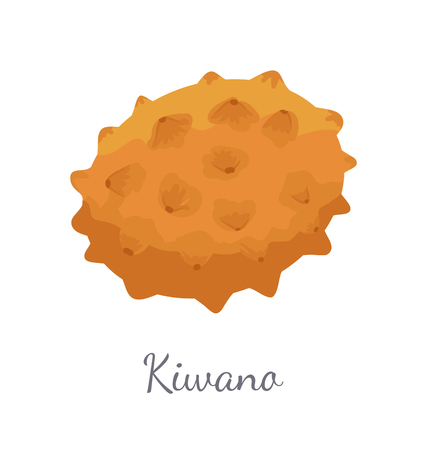 Kiwano exotic juicy fruit vector isolated icon. Cucumis metuliferus, African horned cucumber or jelly melon, hedged gourd, melano. Tropical edible food Illustration