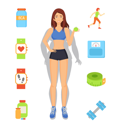 Sport and Diet Weight Loss Vector Illustration