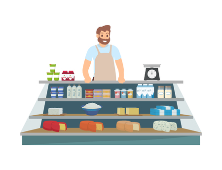 Farmer Selling Products Icon Vector Illustration