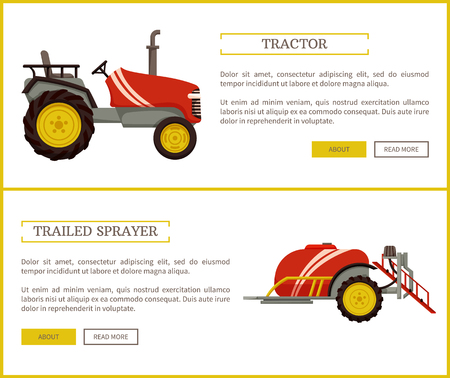 Tractor and trailed sprayer posters set with text . Machinery used in agriculture and husbandry, machines with wheels transporting preserving vector