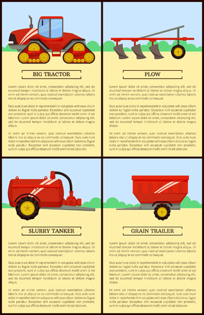 Agricultural Machinery Set, Cartoon Vector Banner