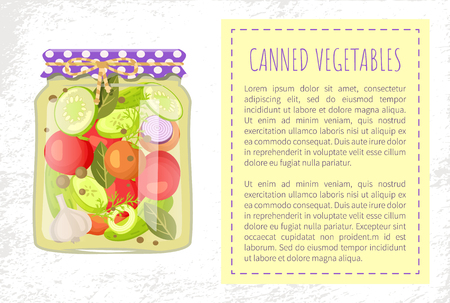 Canned pickled vegetable mixed in glass jar vector poster. Zucchini and tomato, onion and cucumber, dill and garlic seasoning, bay leaves, mix of veggies